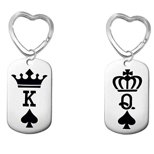 - SMUOBT 2 Pcs Couples Gift His Queen Her King Couple Key Ring Keychain Gift Birthday Christmas Anniversary Gift for Lover Couple,Style 1