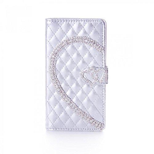 Book Style Design Handy Tasche Karo Metallic mit Visitenkartenfunktion und Strass Herzen Flip Cover Schutz Hülle Schale Klapp Etui Case Modern Bag für Apple Iphone 5C in Silber