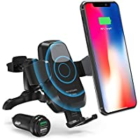 RAVPower Wireless Charger Car Mount Kit Compatible with iPhone XR XS Max X 8 Plus Galaxy S9 S8 Note 9 8 5 and & Qi-Enabled Device