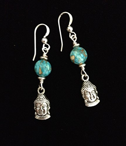 Bohemian Reconstituted Turquoise Gemstone Buddha Charm Earrings - Gemstone Charm Earrings