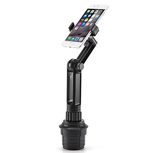 Cup Mount Holder iKross 2-in-1 Tablet and Smartphone Adjustable Swing Cradle with Extended Cup Car Mount Holder Kit for Apple iPad iPhone Samsung Asus Tablet Smartphone and Uber Lyft Driver - Black by iKross (Image #5)