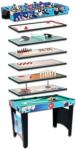 XLOO Mesa de futbolín 8 en 1, fútbol/Curling/Tenis de Mesa/ajedrez/Damas/Bolos/Anillo/Billar, para Sala de Juegos, arcadas, Bar, Noche Familiar (Azul): Amazon.es: Hogar