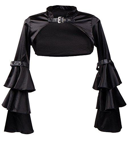 Killreal Women's Buckled Neck Crop Top Gothic Satin Long Sleeve Bolero Shrug Jacket Black X-Large