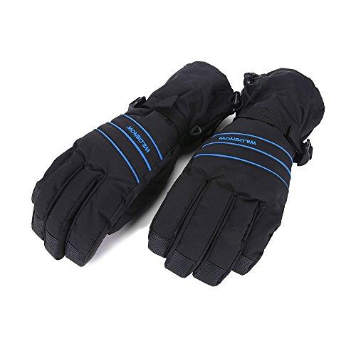 Unistrengh Men's/Women's Ski Gloves Waterproof Windproof Snowboard Gloves for Outdoor Winter Snow Sports (X-Large, Black/Blue)