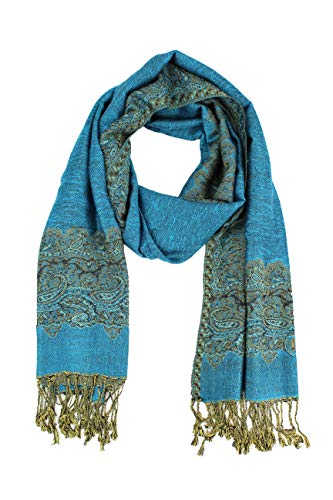 Paskmlna Border Pattern Double Layered Reversible Woven Pashmina Shawl Scarf Wrap Stole, 003#11turquoise, -