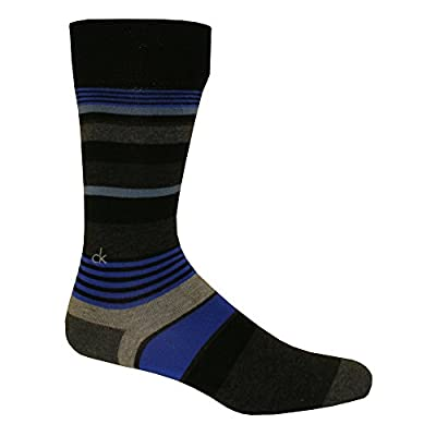 Calvin Klein Multi-stripe Logo Men's Socks, Black / Liquid Blue