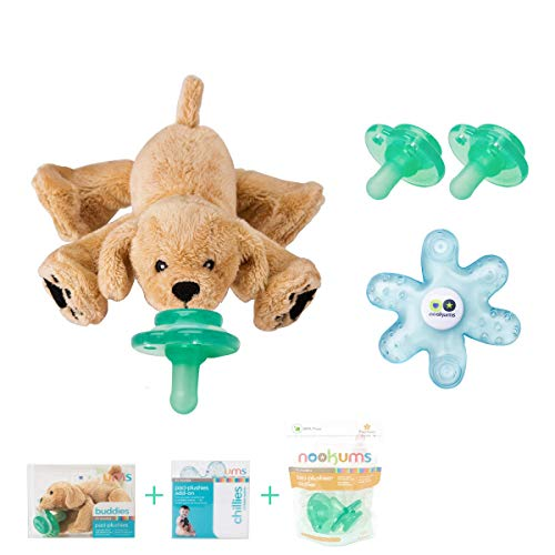 - Nookums Paci-Plushies Retriever Baby Gift Set - Pacifier Holder, Teether and Replacement Pacifier 2 Pack (Plush Toy Includes Detachable Pacifier, Use with Multiple Brand Name Pacifiers)
