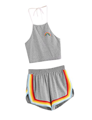 (SweatyRocks Women's 2 Piece Set Halter Crop Top and Shorts Set Grey)