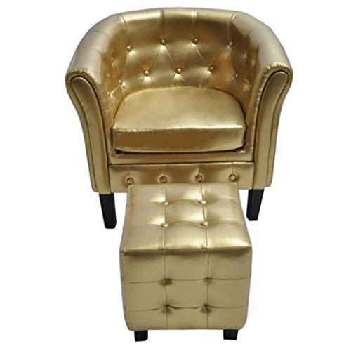 vidaXL Gold Tufted Tub/Barrel Design Armchair Club Chair Accent w/Ottoman Foot Stool
