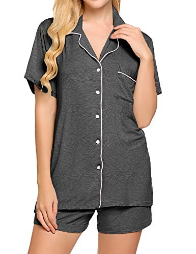 Ekouaer Womens Shorty Pajama Sets Comfortable Relaxed Button Front Sleepwear(Deep Flower Gray,Medium)