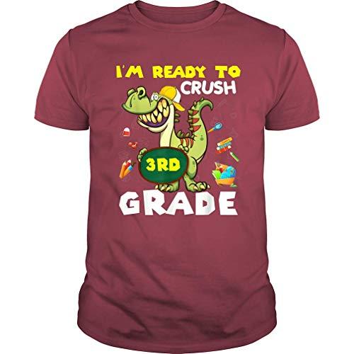 Kids Ready to Crush 3rd Grade T Rex Dinosaur Funny T Shirt Boys (Unisex T-Shirt;Cardinal;S)