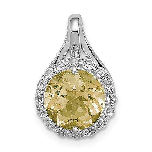 (Sterling Silver Rhodium White Topaz & Lemon Quartz Circle Pendant)