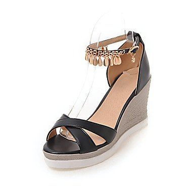 Enochx sandali da donna estate autunno Club scarpe comfort PU wedding Office & carriera vestito zeppa strass fibbia catena, nero, US6/EU36/UK4/CN36
