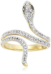 Yellow Gold Plated Sterling Silver Snake White Topaz Black Diamond Accent Ring, Size 6