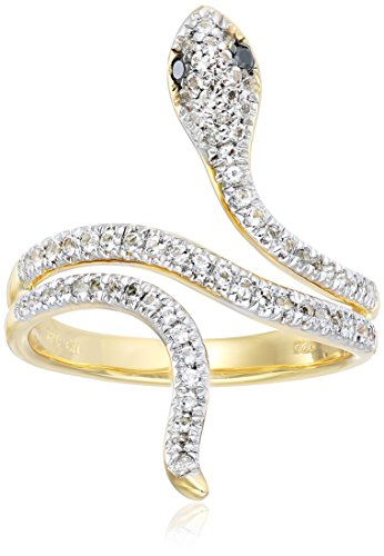 Yellow Gold Plated Sterling Silver Snake White Topaz Black Diamond Accent Ring, Size 7 (Ring Snake White Black)