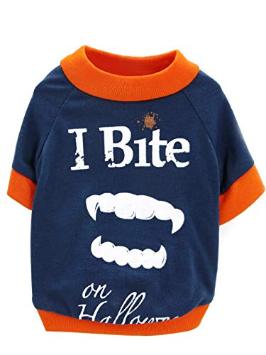 Dog Halloween Costumes On Clearance (BesserBay Puppy [I Bite on Halloween] Vampire Teeth Printed Tees Navy Suit Cosplay Costume Pet Dog Cat Doggie Fall T Shirt)