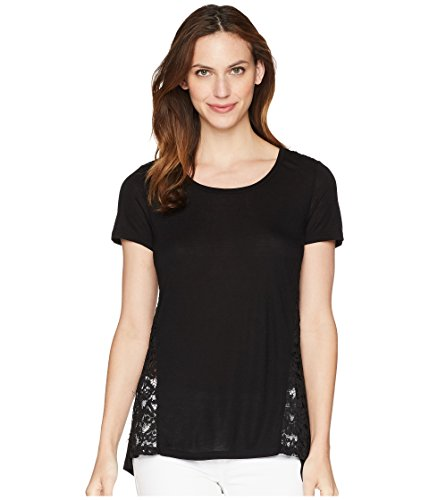 Lace Trim Jersey Top - Tribal Women's Knit Jersey Short Sleeve Top with Lace Trim Black Large