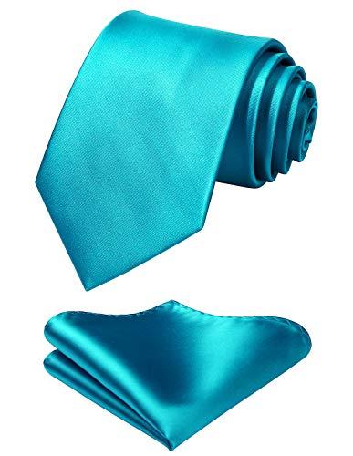 Mens Solid Aqua Tie Classic 3.4