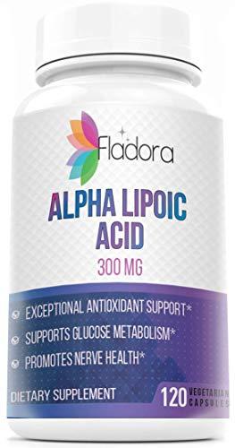 Fladora Alpha Lipoic Acid 300mg - Supports Healthy Blood Sugar and Nerve Health, Antioxidant - 120 Vegetarian Capsules