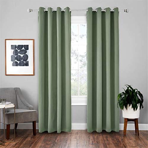 Nickel Matt Adjustable (Curtain Rod - Super Soft Matt Satin Thermal Blackout Blush Green Eyelet Curtain Window Treatment Drapes 2 Panels for Bedroom, Living Room, Kids (E:52