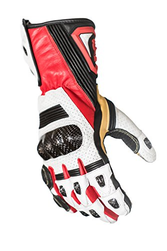 Protect the King Hornet Premium Leather Gauntlet Motorcycle Sport Biker Gloves (XX-Large, Red/White) (Leather Glove Racer)