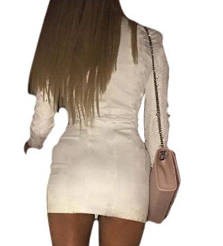 Bodycon Fasciatura Club Vestito Sexy Donne Domple Collo Del Bianco Delle Lace Di Up Mini Al Yw8vT