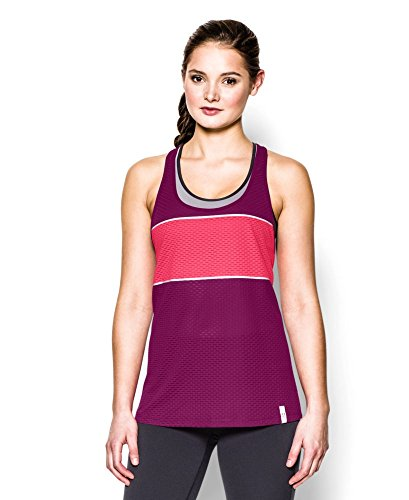 Under Armour Women's UA Fly Fast Mesh Tank Small Aubergine