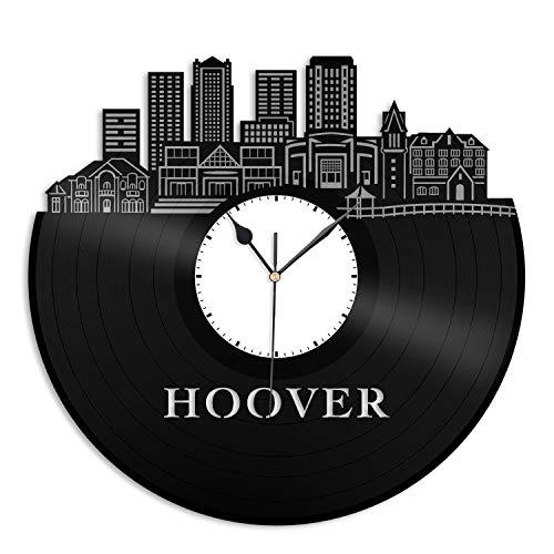 VinylShopUS - Hoover AL Vinyl Wall Clock City Skyline Cityscape Record Souvenir Unique Gift for Friends Men Women Office | Anniversary Home Room Decoration