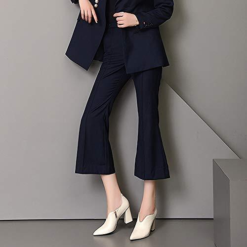 440 talón Bloque Corte del Mujeres de sólido Onda Tacones Cremallera de Color White decoración la Tobillo Las Zapatos de nTqZ080