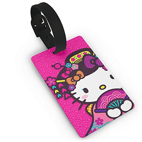 WSXEDC Luggage Tags Hello Kitty with Fan Suitcase Labels Bag Tag Travel ID Identifier Baggage Tag ()