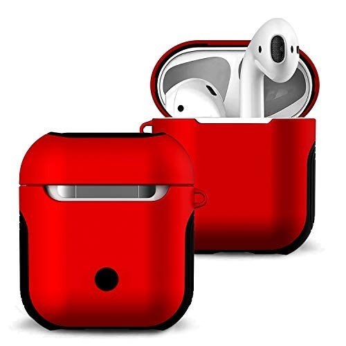 (Airpods Case Cover and Skin - Romozi Airpod Skins is Silicone and Hard Cover Dual Layer Design, Heavy Duty Air Pods Case with Lanyard,Shockproof AirPod Covers for Apple Airpods Accessories(Red))