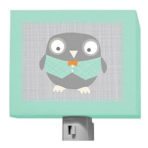 Oopsy Daisy Happy Owl Multi Night Light, Gray/Aqua/Green, 5 x 4