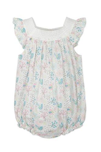 Sunsuit Woven - Feather Baby Girls Clothes Pima Cotton Woven Square Neck Bubble Sunsuit Shortie Baby Romper, 0-3 Months, Regal Bird-Colors on White