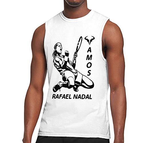 (Rafael Nadal Mens Summertime Sleeveless T-Shirt Cotton Short-Sleeve Tanks White)
