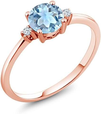 0.78 Ct Round Sky Blue Aquamarine White Created Sapphire 10K Rose Gold Ring