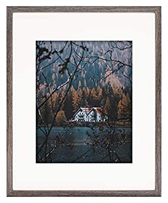 Frame - Ivory Mat for Photo - Smooth Wood Grain Finish - Easel Stand, Sawtooth Hangers, Real Glass - Landscape/Portrait, Wall/Table Display