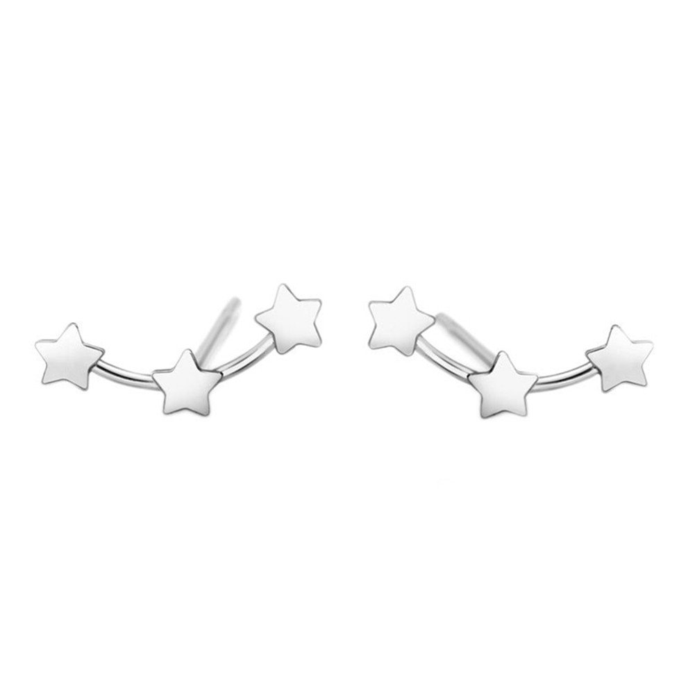 925 Sterling Silver Plated Vintage Smooth 3 Connected five pointed star Womens Stud Earrings,9MM B01N6MEJY1_US