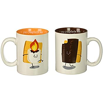 Pavilion Gift Company 74706 Smores Chocolate /& Marshmallow Complimentary Dishwasher Safe Coffee Mugs 18 oz Multicolor