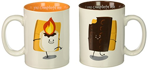 Pavilion Gift Company 74706 S'mores Chocolate & Marshmallow Complimentary Dishwasher Safe Coffee Mugs, 18 oz, Multicolor