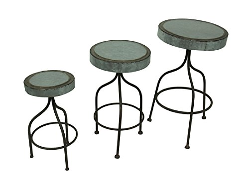 Metal Plant Stands Galvanized Retro Metal Bar Stools Set Of 3 Decorative Plant Stands 11 X 19 X 11 Inches Silver (Stool Garden Galvanized)