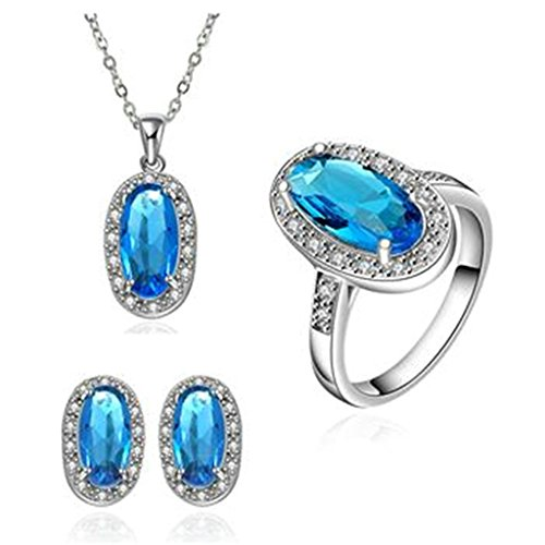 80s Costumes For Adults Diy (AmDxD Jewelry Silver Plated Women Jewelry Sets Blue Tear Drop CZ Necklace Earrings Rings Size 8)