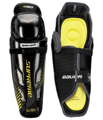 Shin Bauer Guard (Bauer S17 Supreme S150 Junior Shin Guard, Grey/Black, 12