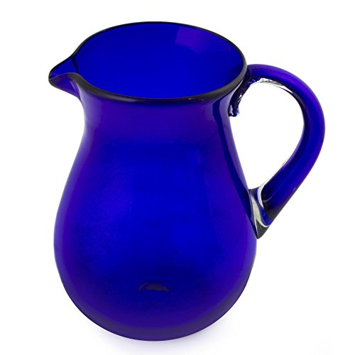 NOVICA Large Blue Hand Blown Glass Pitcher for Water, Margaritas, Lemonade, 82 oz, 'Cobalt Charm'