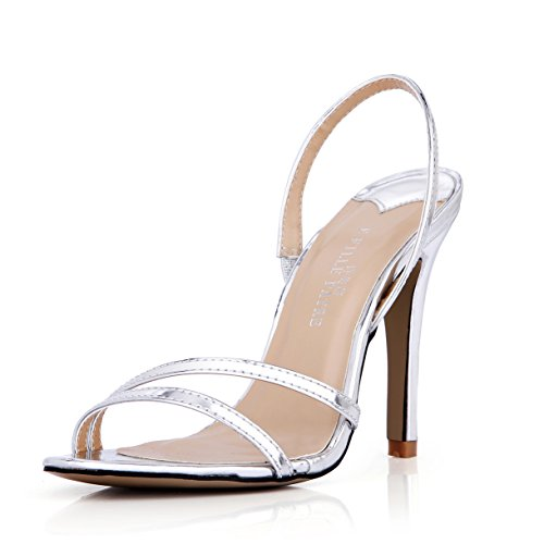 New Female sandals Annual Show desktop model women shoes large silver band high-heel shoes Silver