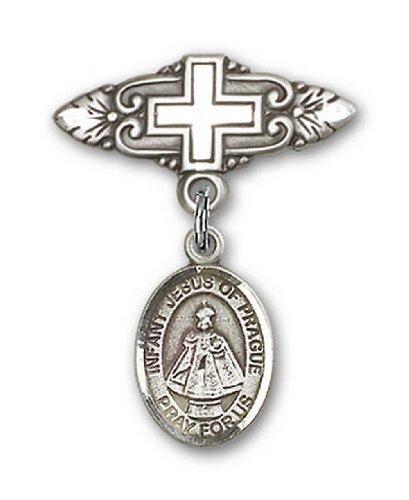 Icecarats Créatrice De Bijoux En Argent Sterling Infantile De La Broche De Badge Charme Prague Avec Une Croix X 3/4