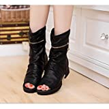 Women's Boots Comfort PU Spring Casual Black Gold 2in-2 3/4in