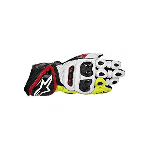 Alpinestars GP Tech Leather Gloves , Gender: Mens/Unisex, Primary Color: Black, Size: Md, Distinct Name: Black/Red/Flourescent Yellow, Apparel Material: Leather 3556613-136-M