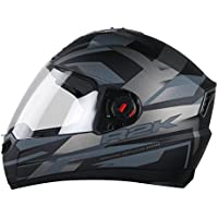 Steelbird R2K Full Face Graphics Helmet in Matt Finish with Plain Visor (Medium 580 MM, Matt Black/Grey)