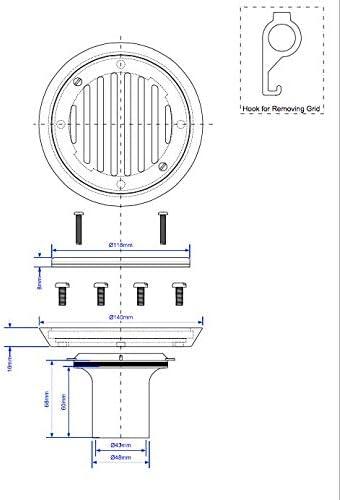 McAlpine Tiled Floor to Sheer Floor Gully Conversion Kit FGTR118TOP-50