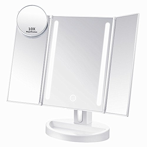 Ultimate Lighted Makeup Mirror (ASSIS Led Lighted Makeup Mirror with 10X Magnifying, Natural LED, Touch Screen and Auto Off Dual Power Supply, 180° Adjustable, Portable Compact Travel Trifold Vanity Mirror (White))